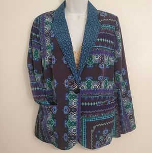 Chicos floral geo quilted blue blazer jacket sz 1